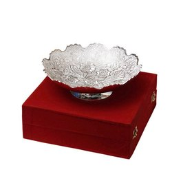 Floral Design Silver Bowl