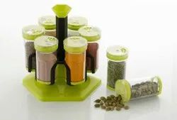 6 Jar Multipurpose Revolving Plastic Spice Rack, 6 Piece Condiment Set 250ml
