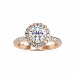 White,Yellow,Rose Gold Round Cut Full White Moissanite Halo Ring With Accents For Engagement Wedding