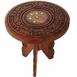 Wooden Folding Stool 3 Leg Round Carving/Brass Design 9 inch