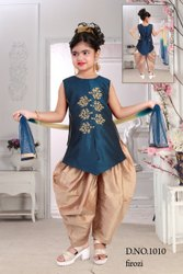 Girl Cotton Kids Sleeveless Patiala Suit, 3 To 15