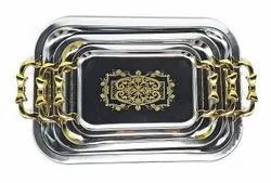 Stainless Steel Serving Tray Set of 3 with Golden Design and Handle