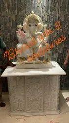 24 Inch White Marble Ganesh Statue