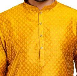Men Solid Cotton Silk Straight Kurta  (yellow)