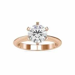 White Yellow Rose Gold Solitaire Round Cut Full White Moissanite Ring For Engagement