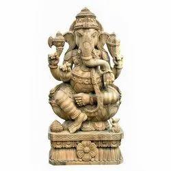 Tharuna Ganapathi Wooden Statue, 8 Kg