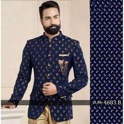 Printed Silk 4683B Men''s Waiter Nehru Groom Jacket, Size: S-XXL