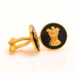 Ashok Stambha Cufflinks In .925 Silver And Black Enamel