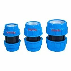 Plastic Compression Fitting Coupler Blue