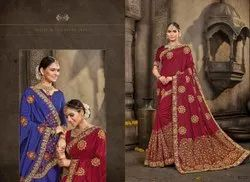 Maroon Party Wear Silk Embroidery Saree
