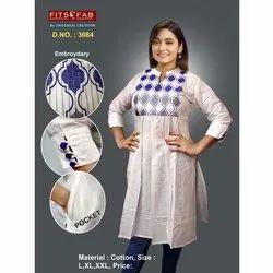 Casual Wear Straight 3/4 Sleeve Cotton Kurti, Wash Care: Machine wash
