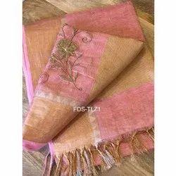 Tissue Linen Multicolor Designer Hand Work Saree, With Blouse, 6.5 Meter