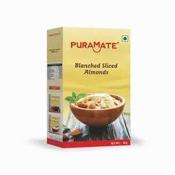 Brand: Puramate Blanched Sliced Almonds, Packaging Size: 50 Gram