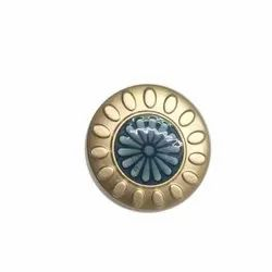 Blue and Golden Acrylic Designer Coat Button, Size/Dimension: 18 Mm