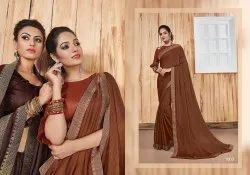 Classic Designer Georgette Satin Patti Saree