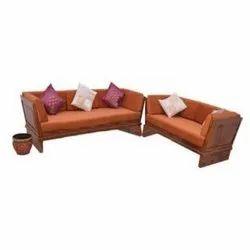 Brown 5 Seater Wooden Sofa Set