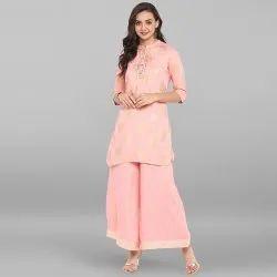 Janasya Women''s Pink Rayon Short Kurta With Palazzo(SET080)