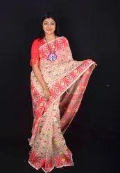 100% Pure Sofy High Quality Designer Dhakai Jamdani Cotton Silk Saree