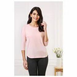 Van Heusen Peach Plum Ladies 3/4th Sleeve T-Shirt, Size: S-XL
