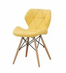 Modern Wooden Sam Leatherette Living Room Chair (Finish Color - Yellow), Back Style: Cushion, Medium