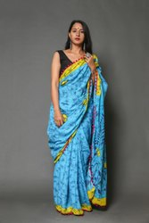 Full Length Cotton Mulmul Saree With Blouse Piece