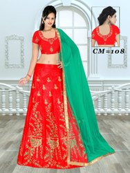 Semi stitched Velvet Wedding Lehenga