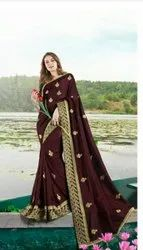 Fancy Designer Party Wear Vichitra Silk Saree