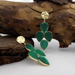 Gold Plated Shinning Gemstone Earring Leaf Designed Earring Beautiful Earring