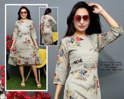 Rayon Ladies Printed Midi Dress