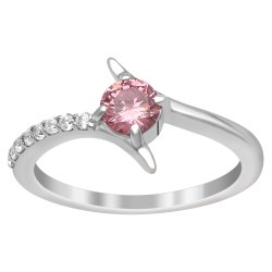 Baby Pink Cubic Zirconia Gemstone 925 Sterling Silver Women Stackable Ring