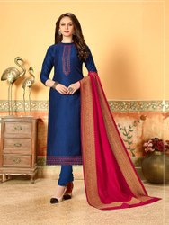 Pr Fashion Very Beautiful Designer Dress Material In Royal Blue Color Paired