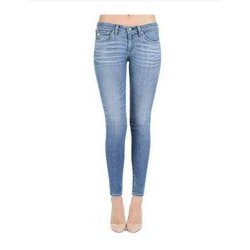 Blue Ladies Slim Fit Denim Jeans, Waist Size: 28 To 38 Inch