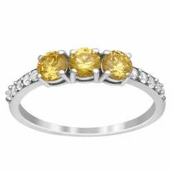Three Stone 0.85 Ctw Yellow Color Gemstone 925 Sterling Silver Stackable Ring