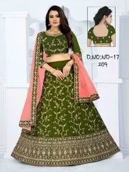 Ethnic Bollywood Green Part Wear Embroidered Bridal Lehengas