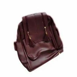 Pu Leather Plain Girls College Bag