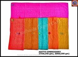 Single Colour 6 Colours Aditya Embroidery Towel, Size: 2754 & 3060