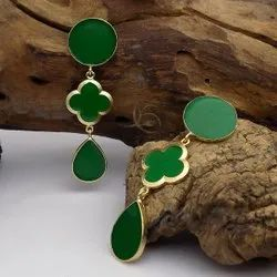 Gold Plate Green Enamel LV Earring Flower Design Earring Long Earring