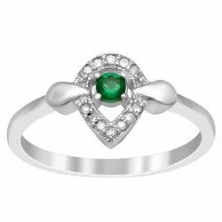 Art Deco 925 Sterling Silver 0.20 Ctw Green Zirconia Gemstone Stackable Ring