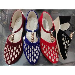 Heel Casual Wear Ladies Velvet Ballerina Shoes, Size: 36-41