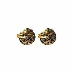 Exotic Animals Gold 92.5 Sterling Silver Unisex Cufflinks