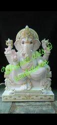 Sitting Polished Marble Ganesha Statue
