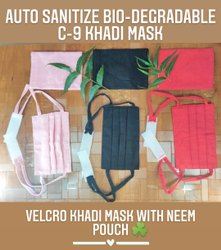 C-9 Velcro Khadi Mask With Neem Pouch
