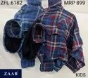 Cotton Regular Wear Zfl 6182 Kids Hooded Check Shirt