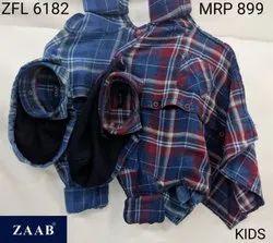 ZFL 6182 Kids Hooded Check Shirt