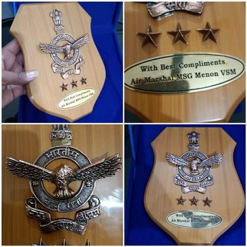 Brown Air Force Premium Bravery Trophy Wooden Momento With Metal Charms Logo