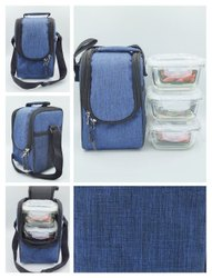 Glass Blue Borosilcate Lunch Boxes Square, For Office, 3