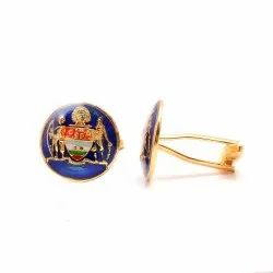 Mayo College Coat Of Arms Cufflinks In .925 Sterling Silver-Blue Enamel