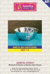 Stainless Steel Round Amrita 26g Fanta Bowl, Size: Size: 1-9