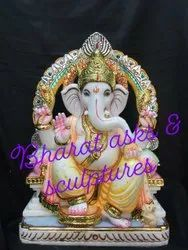 Colored Marble Ganesh Statue