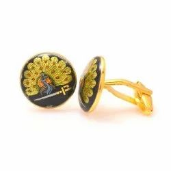 Mayo College Hand Painted Mayoor Cufflinks In Silver And Enamel